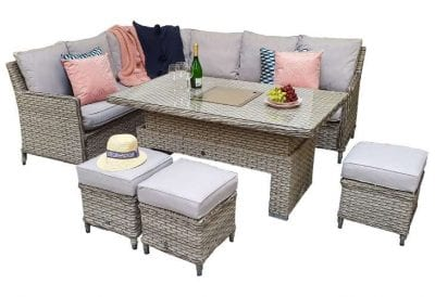 Signature Weave Edwina Corner Dining with Lift Table Special Grey