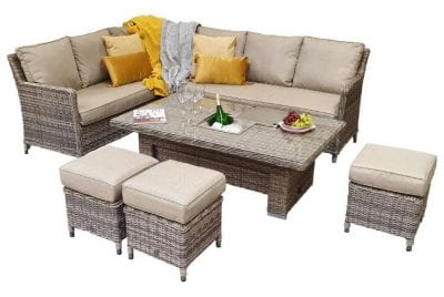 Signature Weave Edwina Corner Dining with Lift Table Mixed Nature Weave