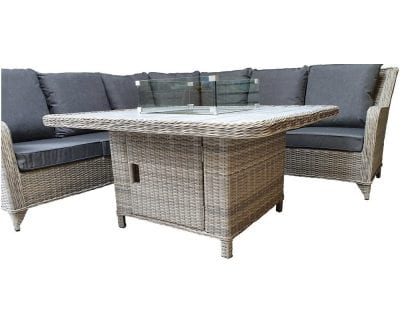 Signature Weave Meghan Corner Dining Set With Gas Fire Pit