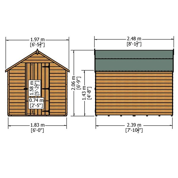 Shire Overlap 8 X 6 Value Dip Treated Garden Shed
