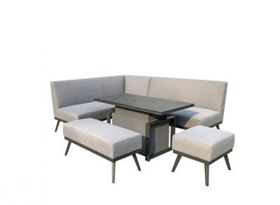 Signature Weave Kimmie Fabric Sofa Dining with Gas Lift Table