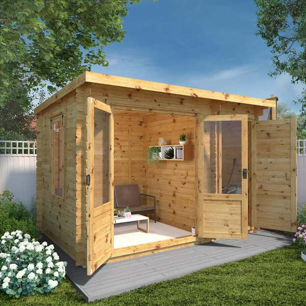 Mercia 3.5m x 2.4m Pent Log Cabin With Side Shed – 19mm