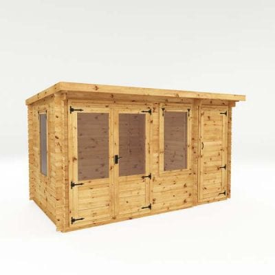 Mercia 4.1m x 2.4mm Pent Log Cabin With Side Shed – 19mm