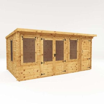 Mercia 5.1m x 2.4mm Pent Log Cabin With Side Shed – 19mm